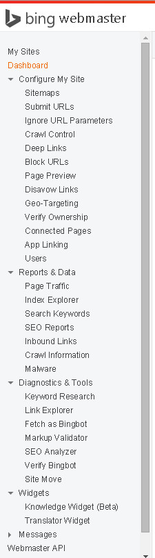 Bing Web Master Tools Menu