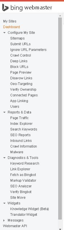 Bing Web Master Tools Menu
